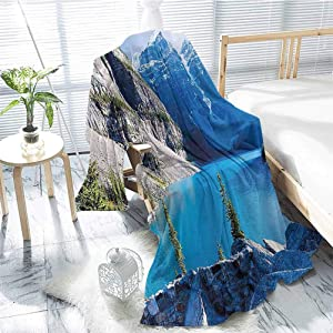jecycleus Nature Rugged or Durable Camping Blanket Moraine Lake Banff National Park Canada Mountains Pines Valley of The Ten Peaks Warm and Washable W91 x L60 Inch Blue Green Grey