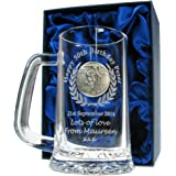 Men's 50th Birthday Gift, Engraved 50th Birthday Pint Glass Tankard with Pewter Rugby Player Feature, In a Satin Lined Presentation Box, Gift for Men's 50th Birthday