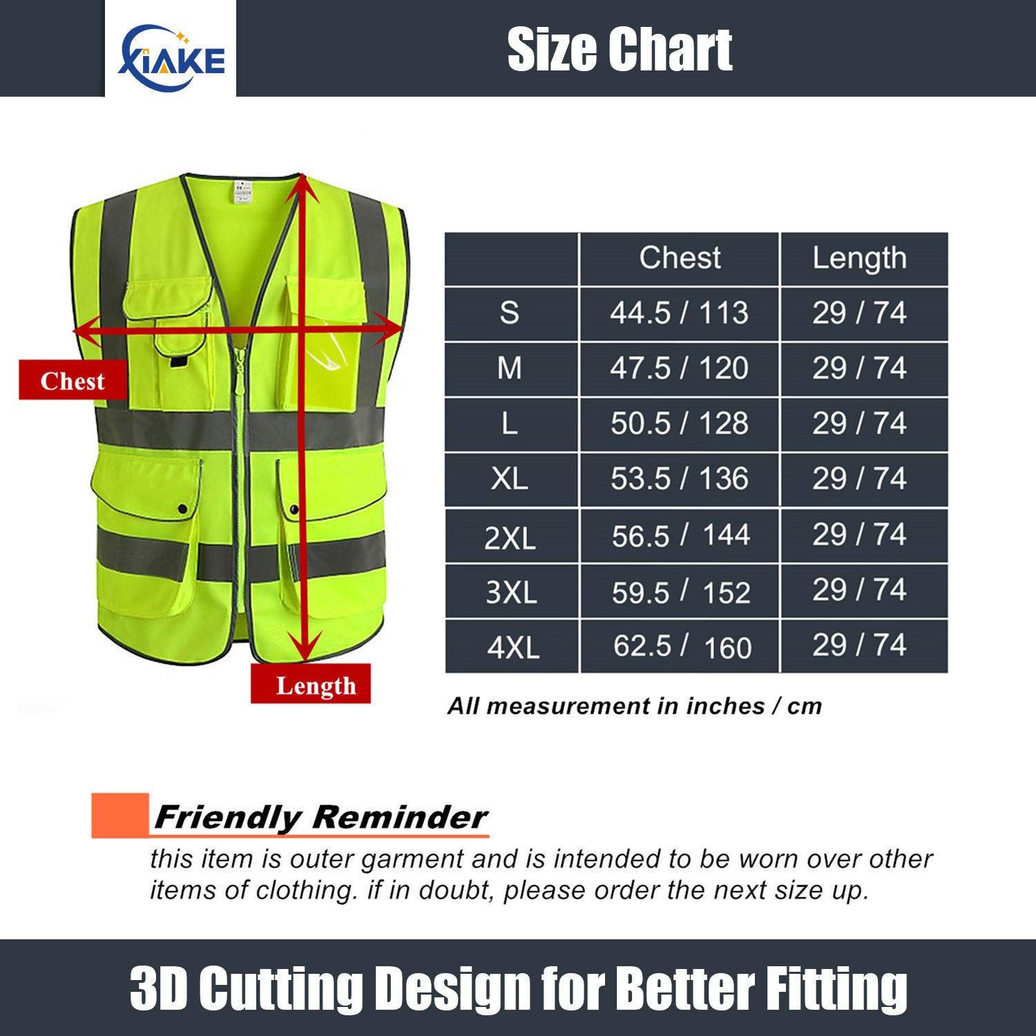 XIAKE Class 2 Reflective Safety Vest with 9 Pockets and Front Zipper High Visibility Safety Vests,ANSI//ISEA Standards