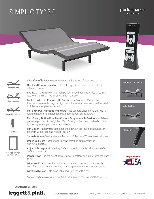 Amazon.com: NEW LEGGETT U0026 PLATT SIMPLICITY 3.0 ADJUSTABLE BED (TWIN):  Kitchen U0026 Dining