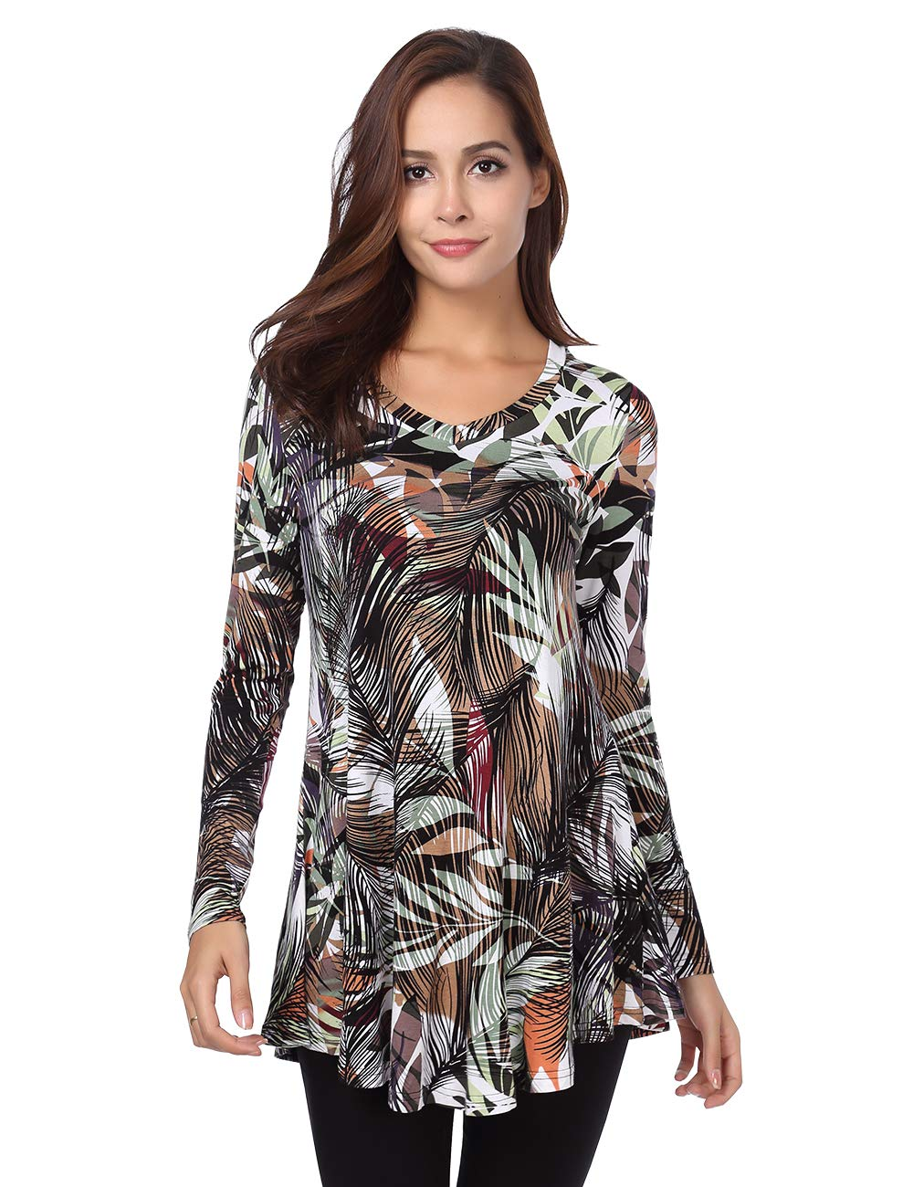 BaiShengGT Women's Flared Comfy Loose Fit Tunic Top X-Large T06 Green Print
