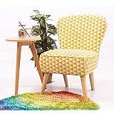 Anaelle Pandamoto Sofa Tissu de lin Moderne Chaise Fauteuil Canapé pour Salle à manger, Salon, Bureau, Taille: 59 x 47 x 83cm, Poids: 10kg (Jaune+Blanc)