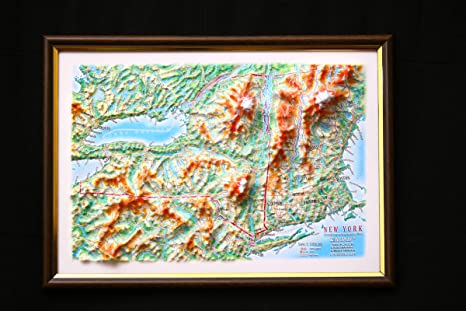 Map Of New York 3d.New York State Map 3d Raised Relief Framed Map Amazing Decorative Bird S Eye View