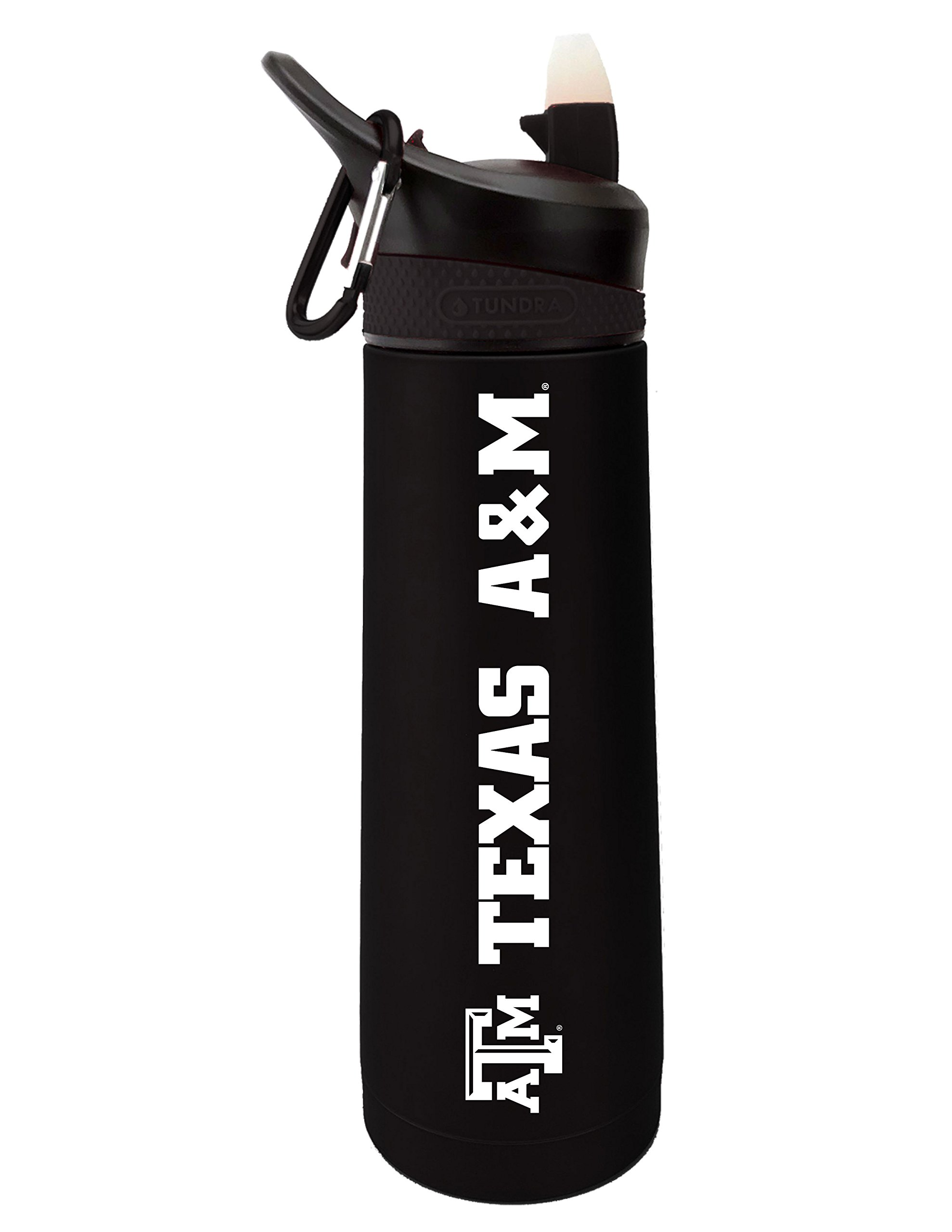 Fanatic Group Texas A&M University Dual Walled Stainless Steel Sports Bottle, Design 1 - Black