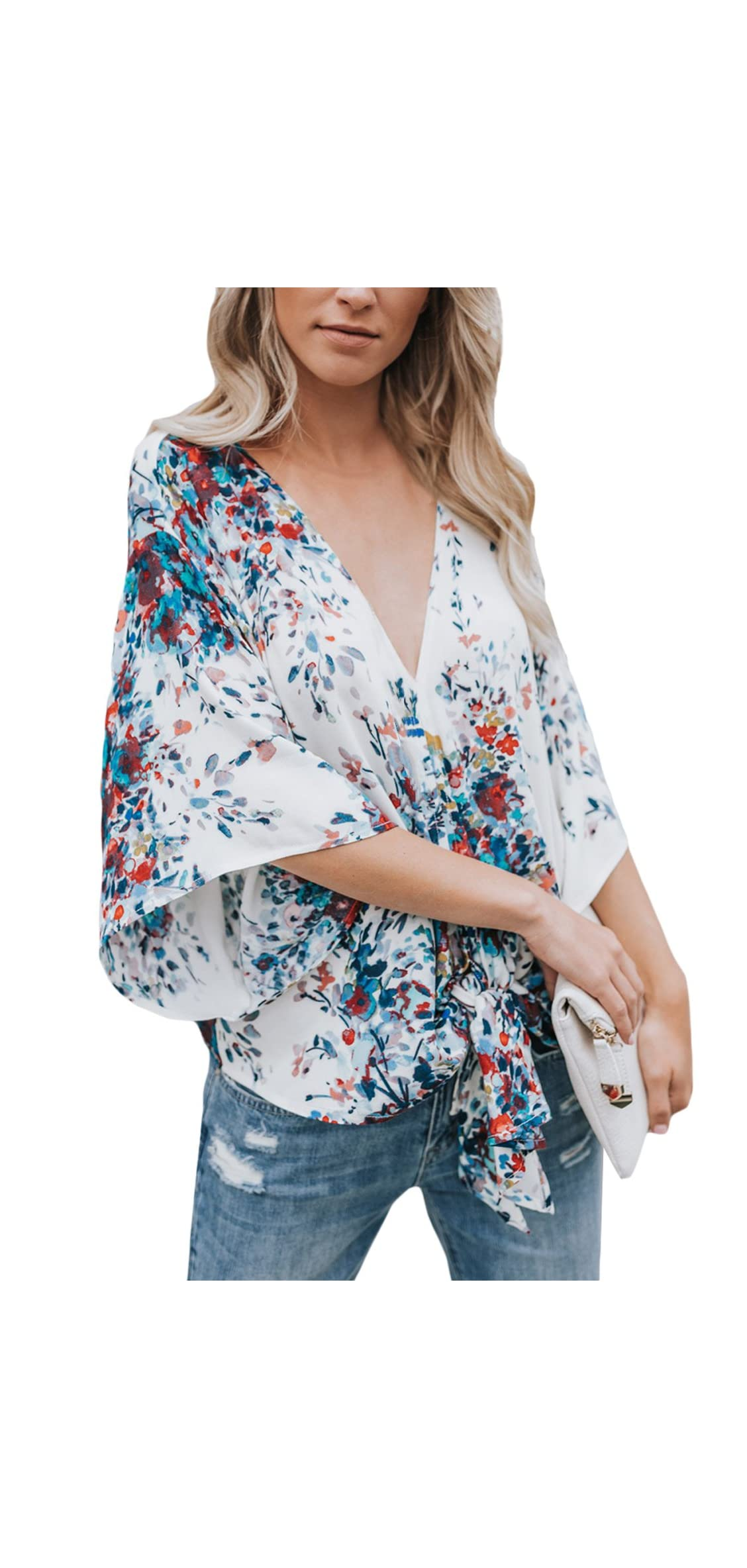 Women's Blouse Floral Print Lightweight Tie Front