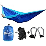 Guiote 210T Double Person Hammocks Multifunctional Parachute Nylon Swing Hammock bed equipment 500lbs Capacity with hook and straps for Outdoor Indoor Travel Camping Hiking Hunting Leisure