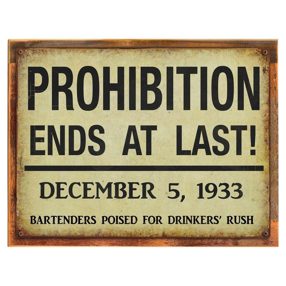 style vintage Homebody Accents /® Wood-framed Prohibition Extr/émit/és plaque en m/étal Art D/éco rustique en bois pub D/écor sur recycl/é barre de D/écor