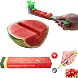 Yueshico Stainless Steel Watermelon Slicer Cutter Knife Corer Fruit Vegetable Tools Kitchen Gadgets with Melon Baller Scoop E