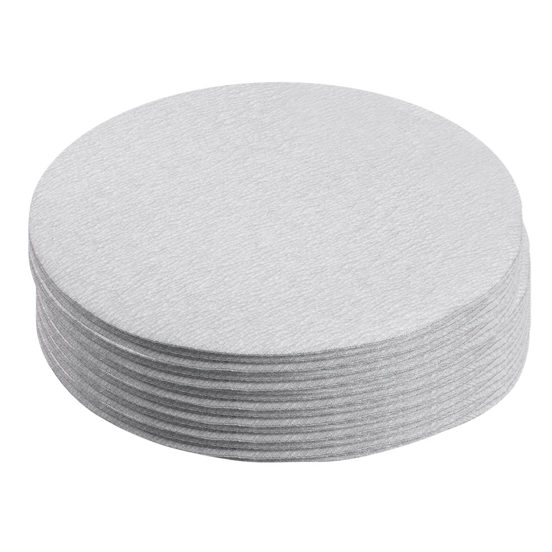 uxcell 50 Pcs 6-Inch Aluminum Oxide White Dry Hook and Loop Sanding Discs Flocking Sandpaper 320 Grit