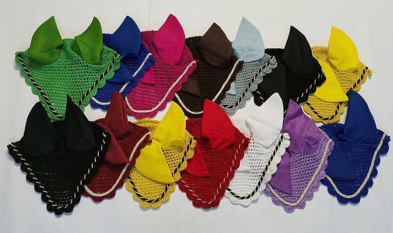 (Pony, Magenta) Horse Fly Veil Horse Fly Ear Bonnets Hood 11 Colours Net Breathable Cotton Crochet with Colourful pipingFly Mask Full Cob Pony