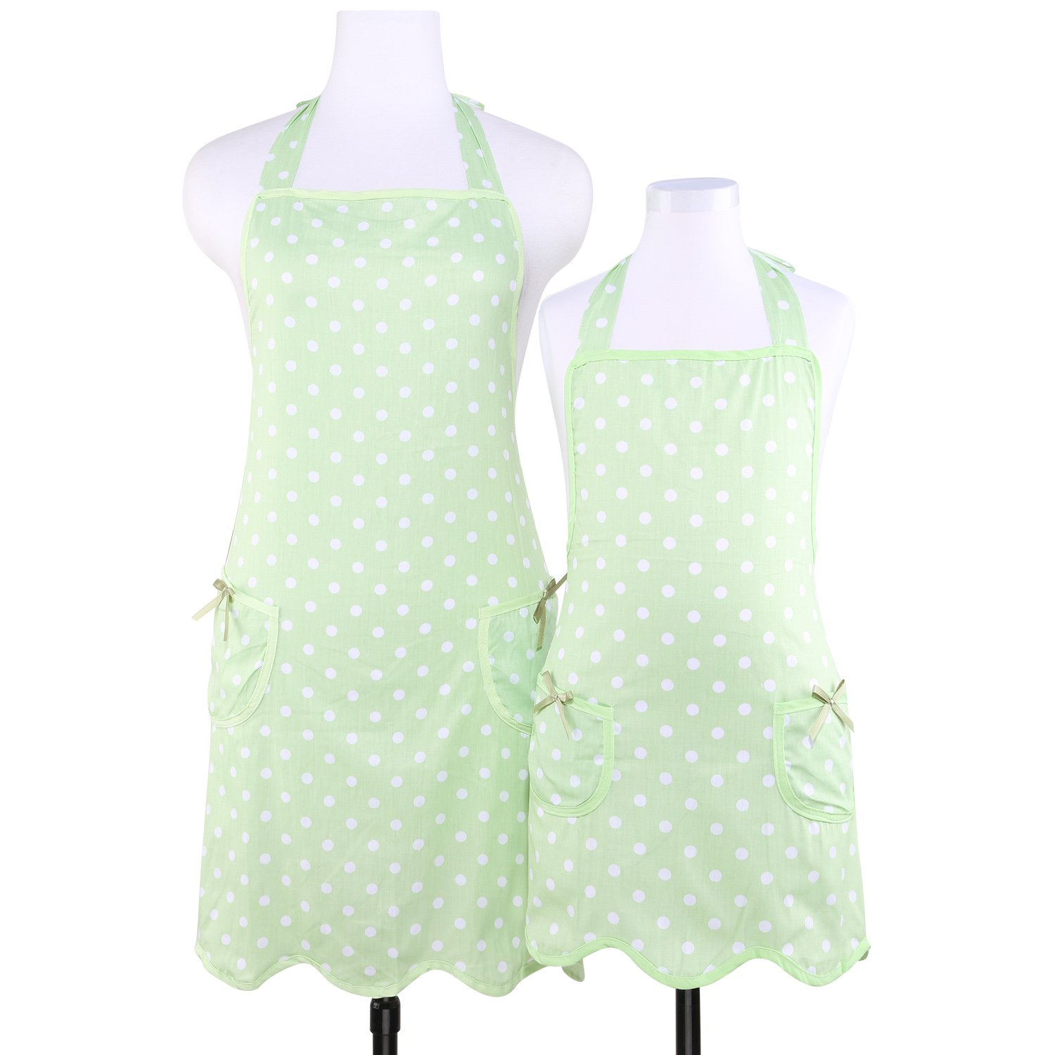 Neoviva Cotton Twill Lightweight Cooking Apron for Women with Pockets, Style Wendy, Polka Dots Green XinDaSheng(HangZhou) Arts Co. LTD