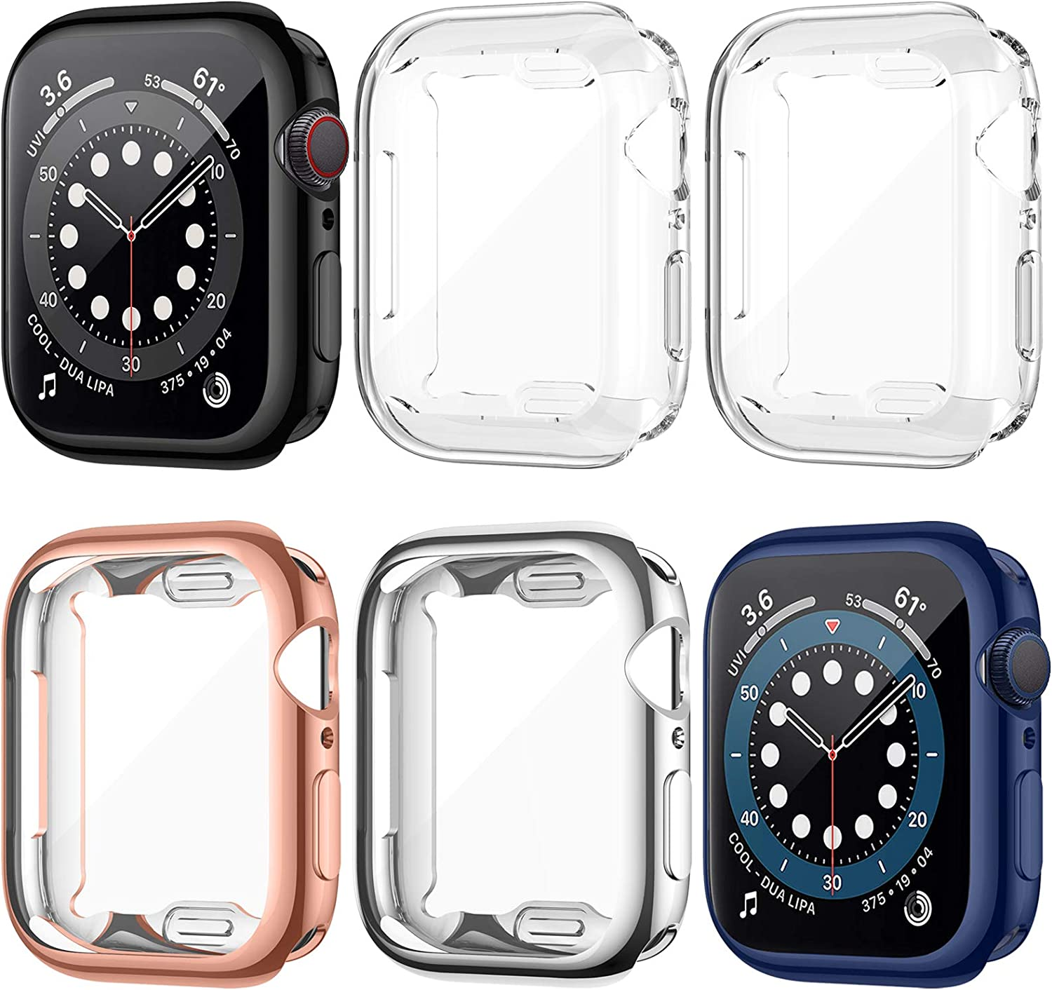 LORDSON 6 Pack Screen Protector Case Compatible with Apple Watch SE Series 6/5/4 44mm, All-Around Soft TPU Protective Case Watch Cover Bumper Watch Guards Compatible with iWatch SE/6/5/4