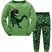 Little Hand Toddler Boys Pajamas Dinosaur 100% Cotton Truck Sleepwear Pjs Sets Long Sleeve Excavator Jammies