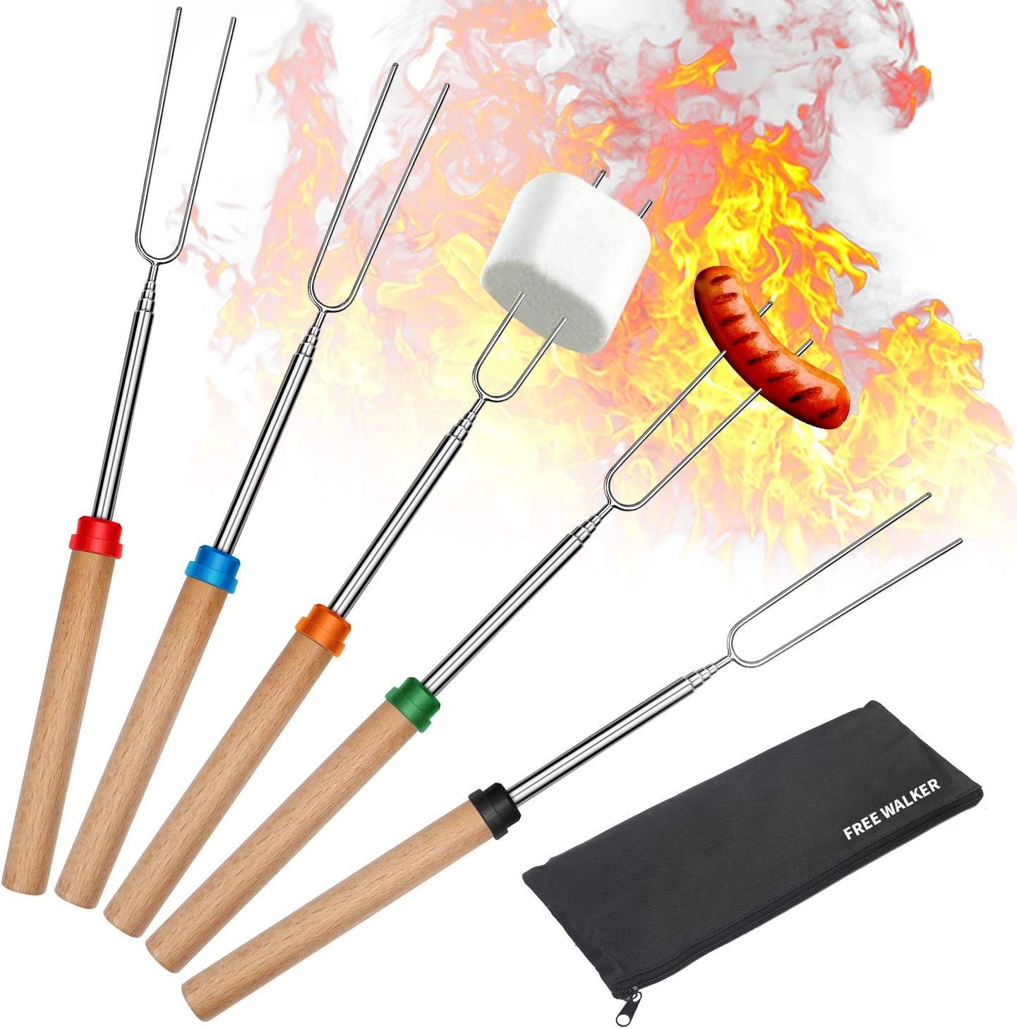 Marshmallow Roasting Smores Sticks,32-inch Extendable Sturdy Stainless Steel Roasting Forks for BBQ,Campfire,Hot Dog,Telescoping Camping Accessories Stove Fork,Safe for Kids,5 Sticks with Storage Bag