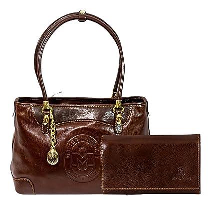 Marino Orlandi Italian Designer Chestnut Bolso de bandolera y cartera de cuero marrón