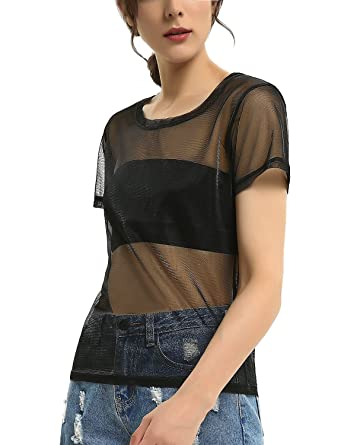 a817af697 Holographic Mesh Shirt Metallic Shimmer See Through Shiny Top for ...