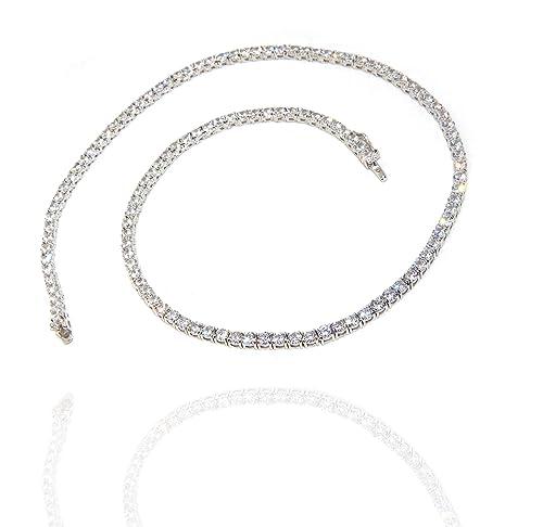 a basso costo 5515e ce4c9 NALBORI Collana Tennis argento 925 con zirconi 3mm bianchi brillanti collier