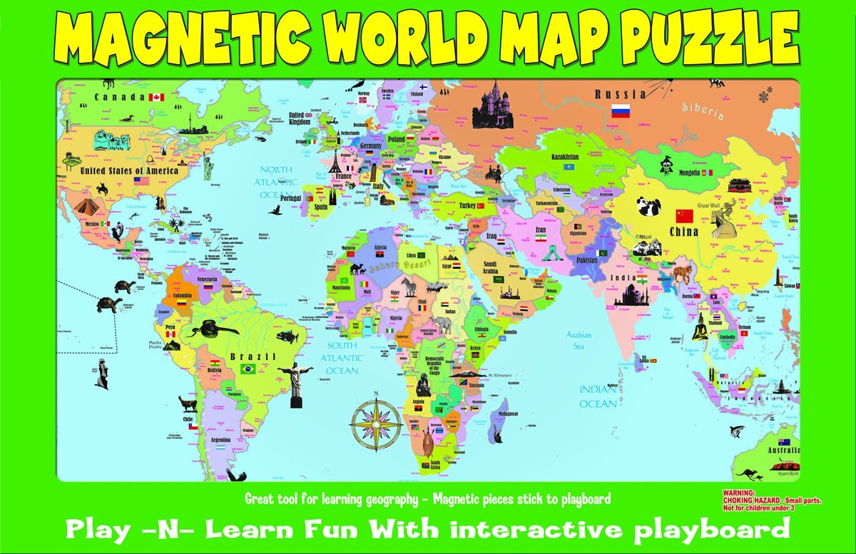 Magnetic world puzzle map world learn countries and capitols goes magnetic world puzzle map world learn countries and capitols goes great on the refrigerator magnet felt playboards amazon canada gumiabroncs Choice Image