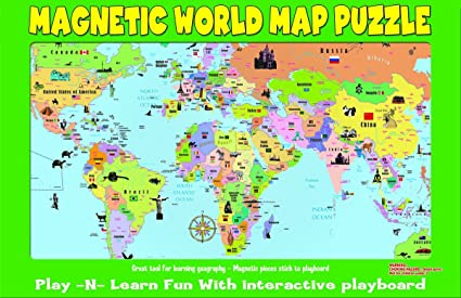 Buy magnetic world puzzle map world learn countries and capitols magnetic world puzzle map world learn countries and capitols goes great on the refrigerator gumiabroncs Image collections