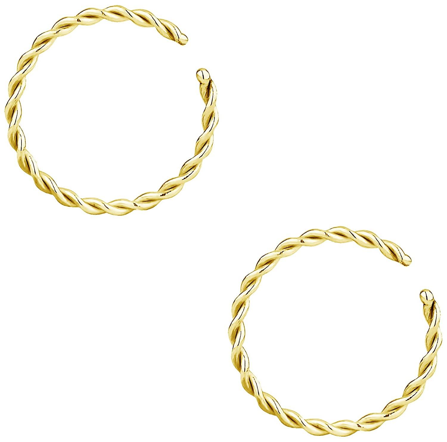 Forbidden Body Jewelry 14g-20g Set of Surgical Steel Braided Hoops for Pierced and Fake Nose & Cartilage Piercings FBJ-MN1675