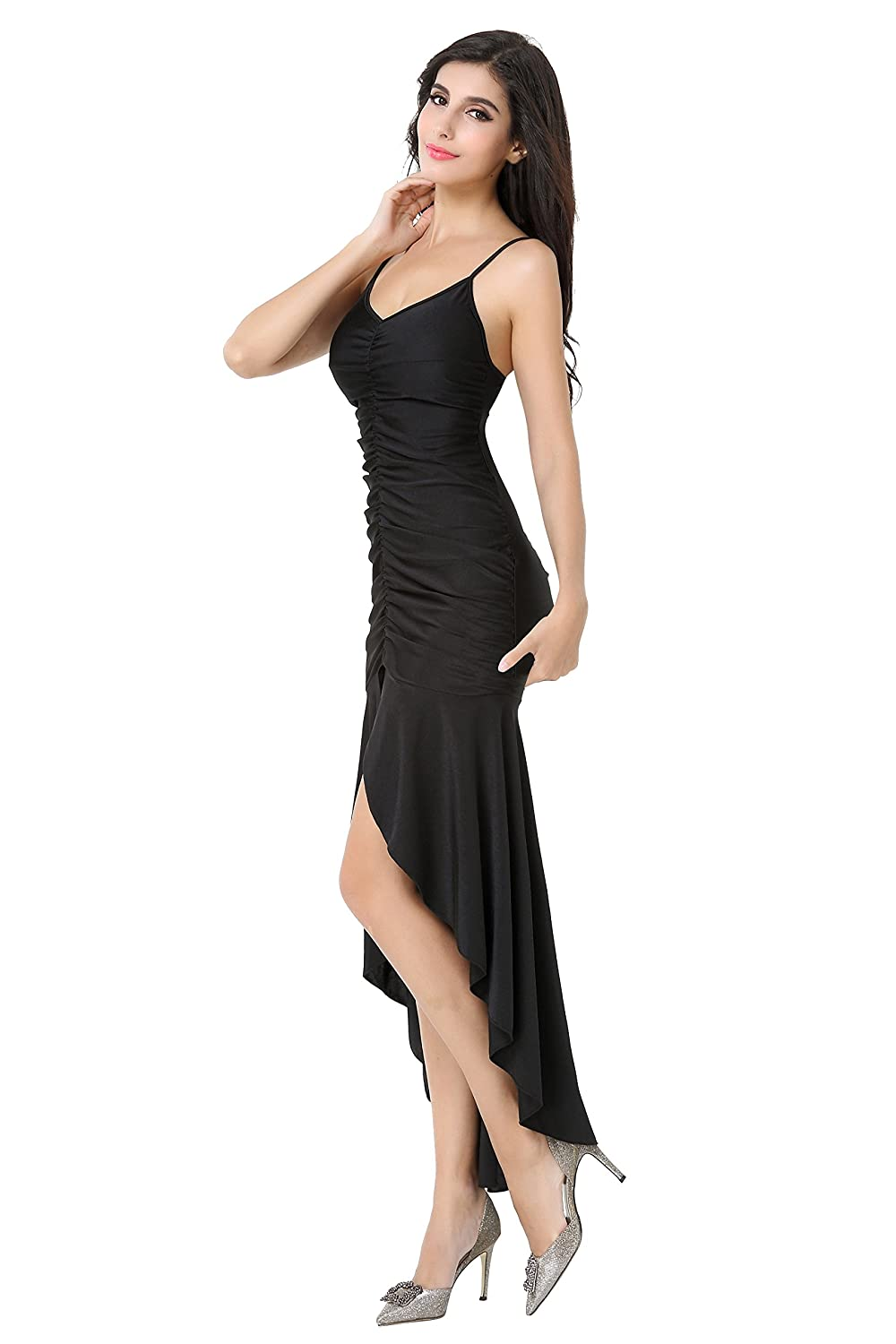 LOVEBEAUTY® Womens Stretchy Ruffle Sleeveless Long Prom Dresses at Amazon Womens Clothing store: