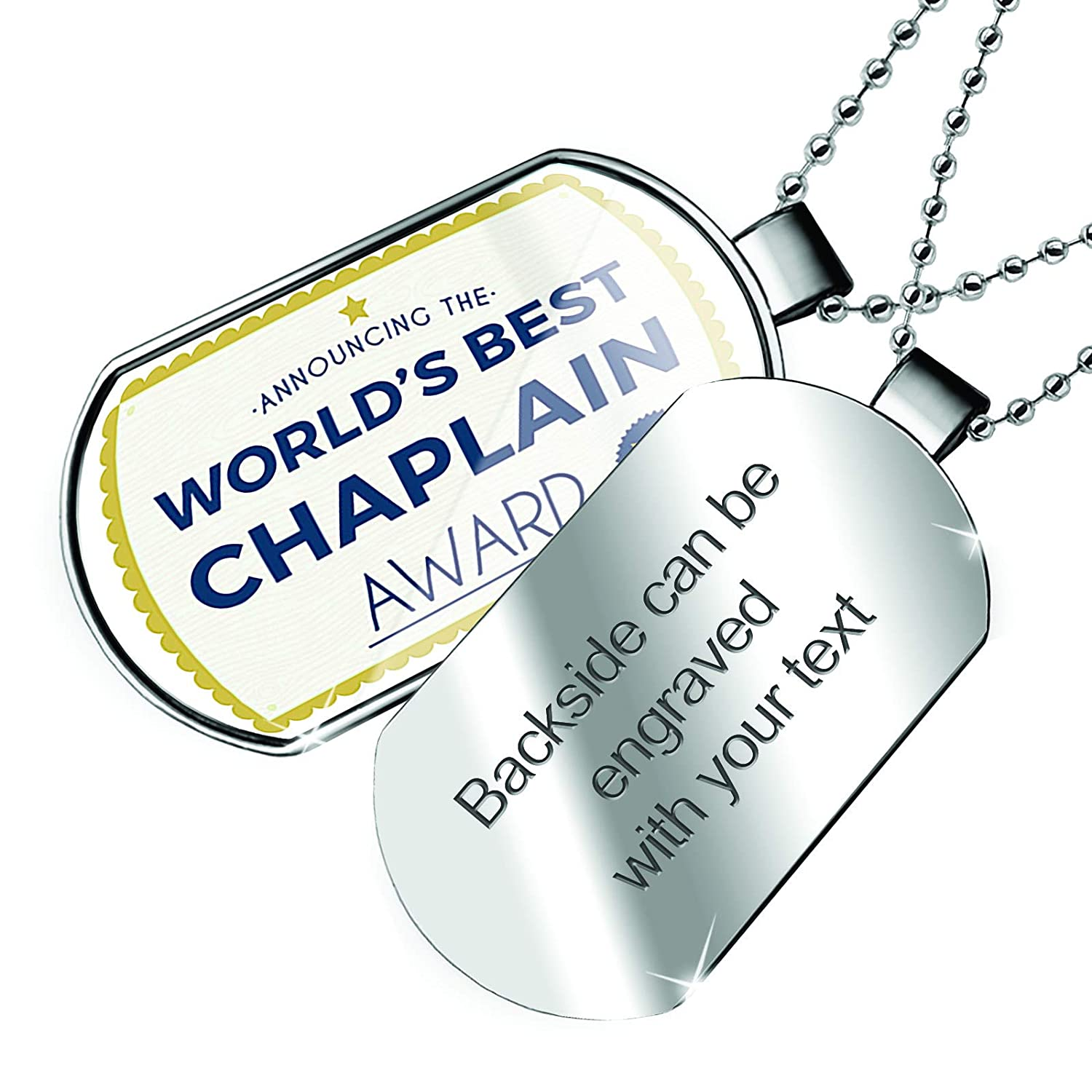 NEONBLOND Personalized Name Engraved Worlds Best Chaplain Certificate Award Dogtag Necklace