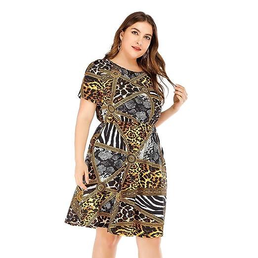 KASAAS Womens Vintage Dresses Plus Size XL-5XL Retro Print O ...