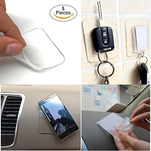 Car Phone Holder Sticky Pad,6pcs Reusable Washable Fixate Anti-Slip Cell Gel Sticky Pads for Cell Phone,Pad,Car GPS,Kitchen Cabinets,Tile,Mirrors,Whiteboards