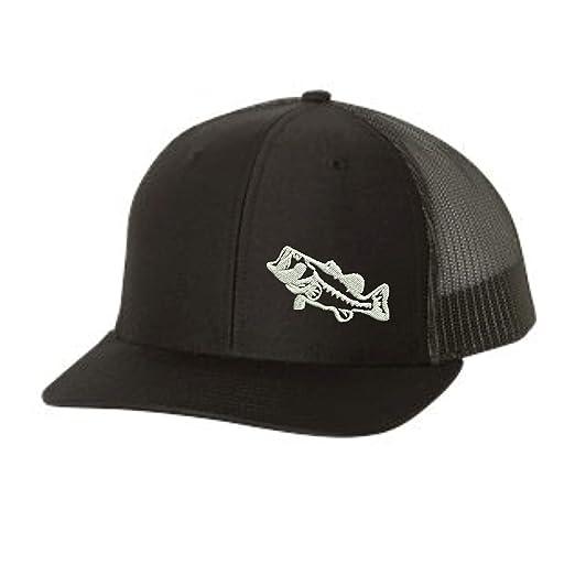 dd73bded99c Trucker Hat - Bass Fishing -Adjustable Snapback Men Women (Black) at ...