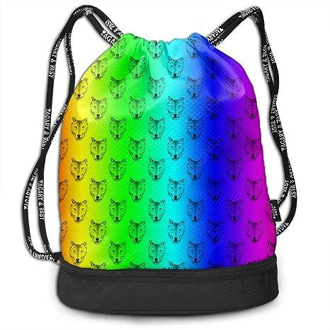 0130886e167b Amazon.com: Zhangyi Rainbow Galaxy Wolf Drawstring Backpack Sports ...