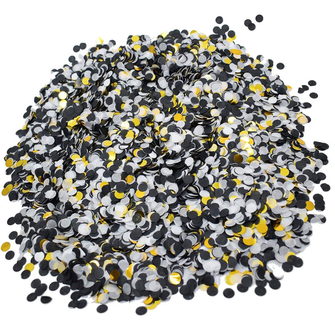 Small Circle Confetti for Party Decoration 10mm//0.4inch,1.76oz,Black White Gold