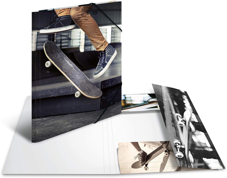 HERMA 19233 Sammelmappe DIN A3 Impressions Skateboard aus stabilem Karton mit bedruckten Innenklappen Eckspanner-Mappe Gummizugmappe 1 Zeichenmappe f/ür Kinder
