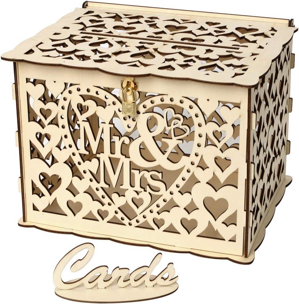 Buzón de Tarjetas de Boda Caja de Postal de Madera Rústica con Cerradura y Tarjeta de Signos, Tarjeta de Regalo para Boda (Mr&Mrs, large): Amazon.es: Hogar