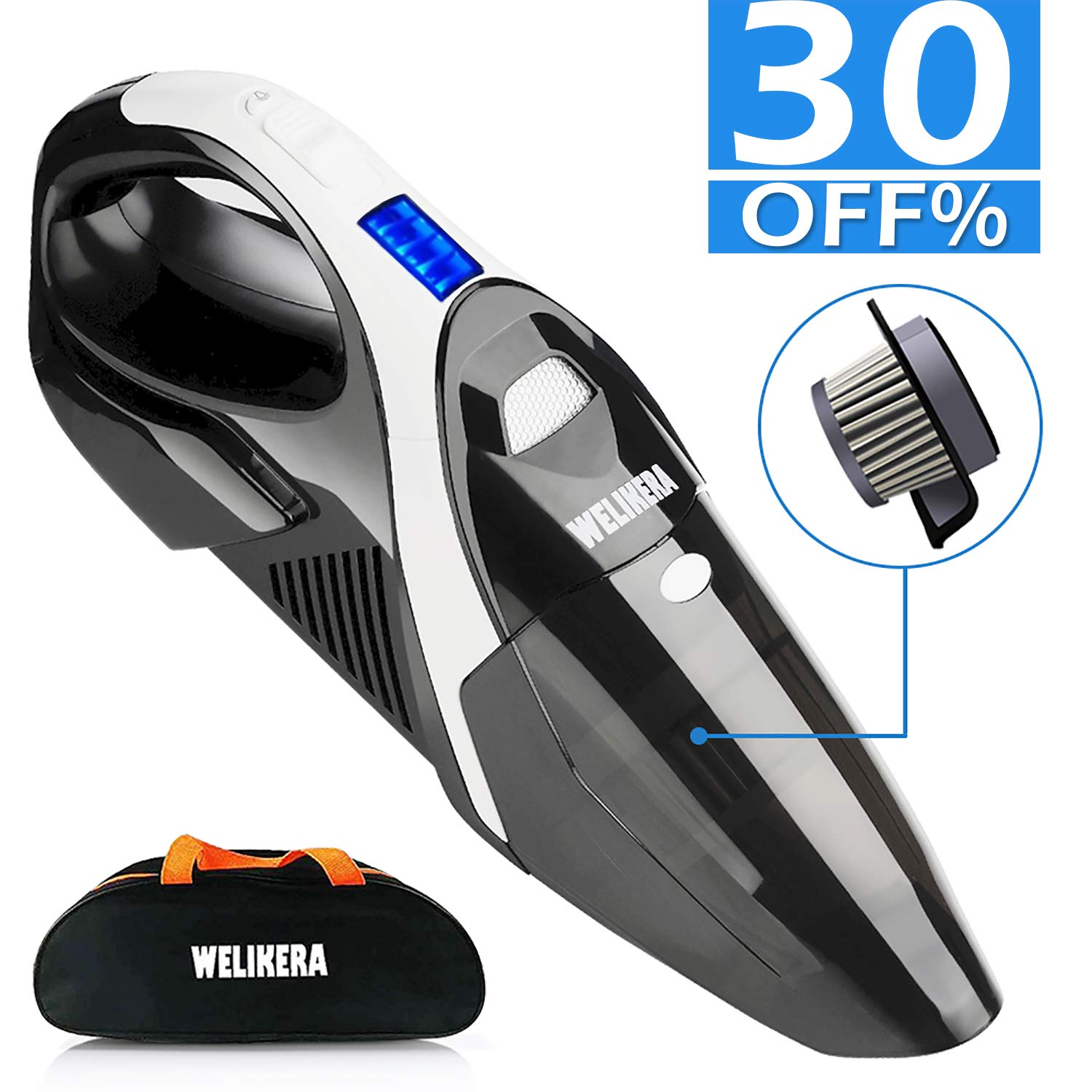 Handheld Vacuum, WELIKERA 7KPA Hand Vacuum Cordless, Car Vacuum Cleaner with Li-ion Battery & Stainless Steel Filter, Rechargeable Hand Vac for Home Pet Hair, Car Cleaning[Upgraded Version]