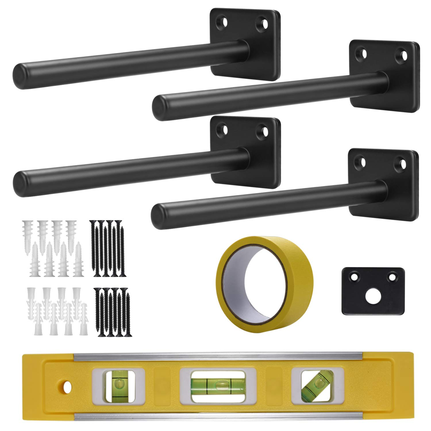 ComfiTime - 6 inch Solid Steel Floating Shelf Bracket (4X), Lab-Tested Heavy Duty Blind Shelf Support, Complete Kit with Templates and Spirit Level, Hidden Wall Mounting Hardware for Wood Shelf by ComfiTime