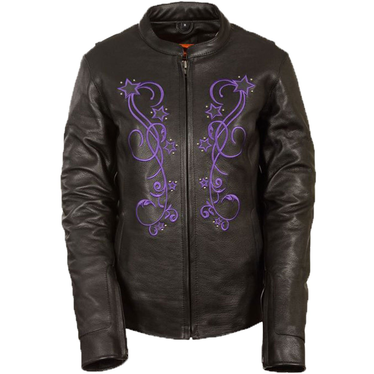 Womens Reflective Star Embroidery Leather Jacket