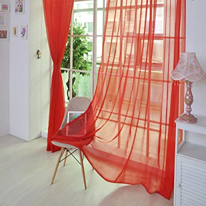 Deesee - 1 cortina de tul de color puro para puerta, ventana ...
