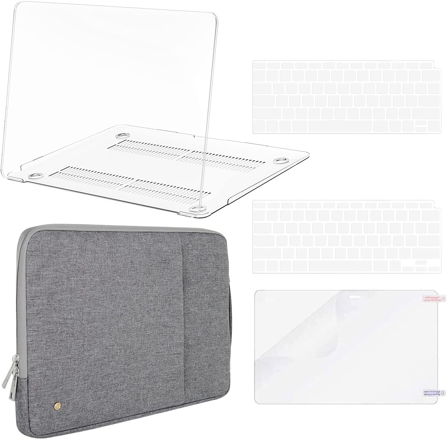 B BELK MacBook Air 2020 Case (Model: A2337 M1 A2179 A1932)+ Shock Resistant Sleeve Bag, MacBook Air 13 inch Case 2019 2018, Laptop Plastic Hard Shell Case + Keyboard Cover + Screen Protector, Clear