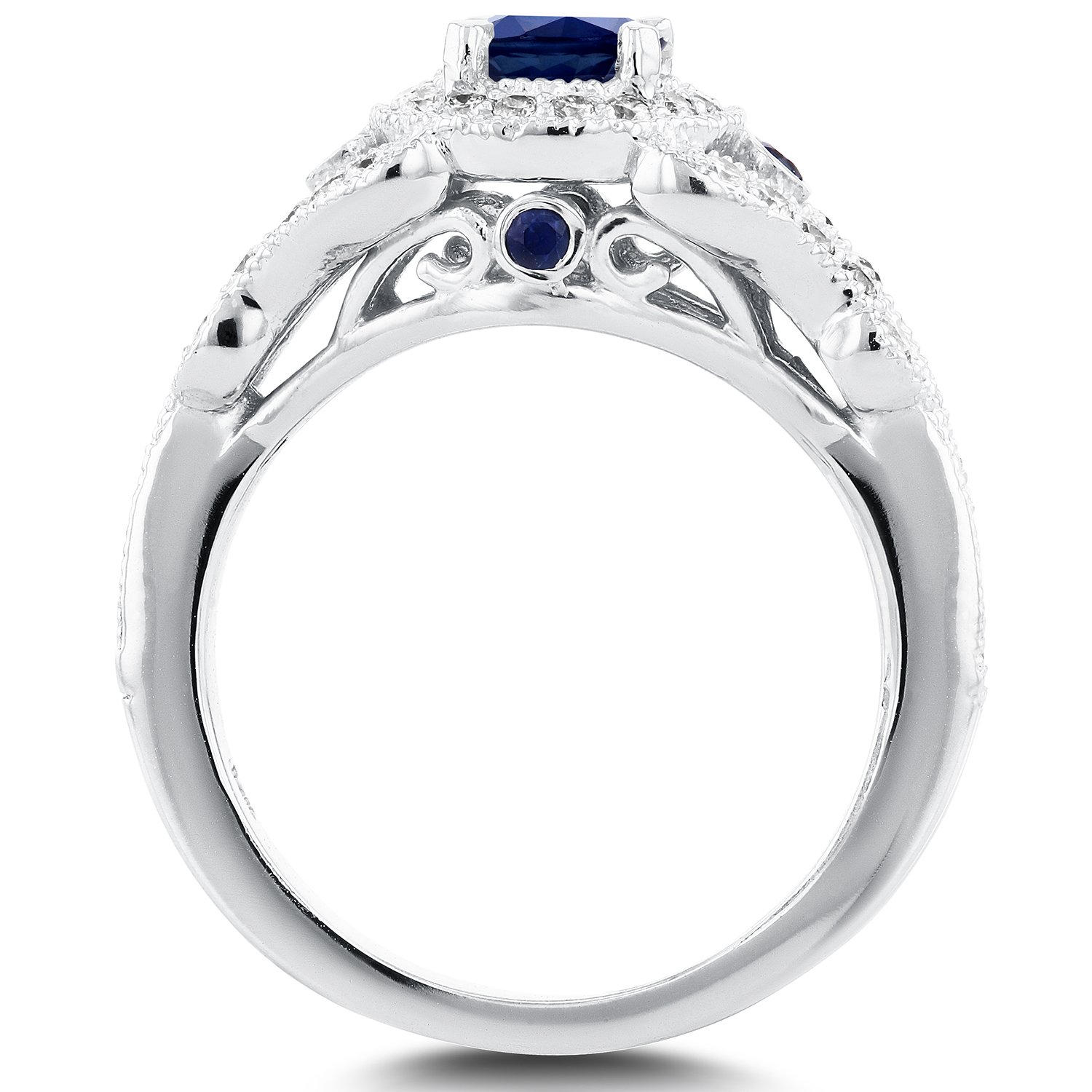 Antique Milgrain Sapphire and Diamond Engagement Ring 1 Carat (ctw) in 14k White Gold, Size 7 by Kobelli (Image #2)