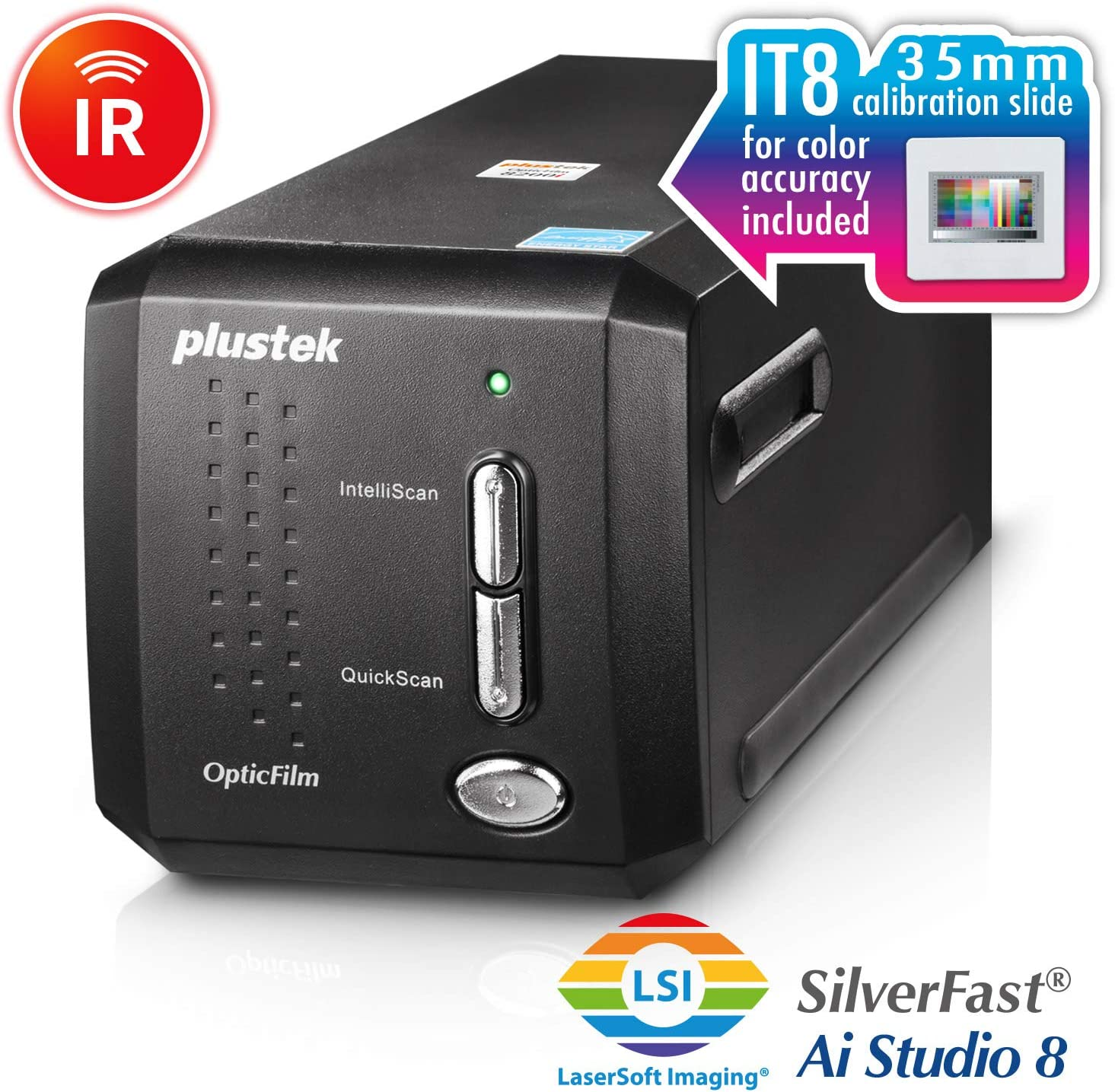 Plustek OpticFilm 8200i AI - 35mm Film & Slides Scanner. IT 8 Calibration Target + SilverFast Ai Studio 8.8, 7200 dpi Resolution 64Bit HDRi , Mac/PC: Electronics