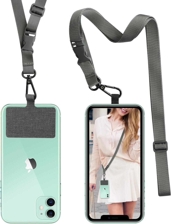 Negro ROCONTRIP Crossbody Cord/ón Cruzado para Tel/éfono con Correa para el Cuello Cord/ón con Correa para el Cuello Compatible con la Mayor/ía de los Tel/éfonos Inteligentes para iPhone Samsung Huawei