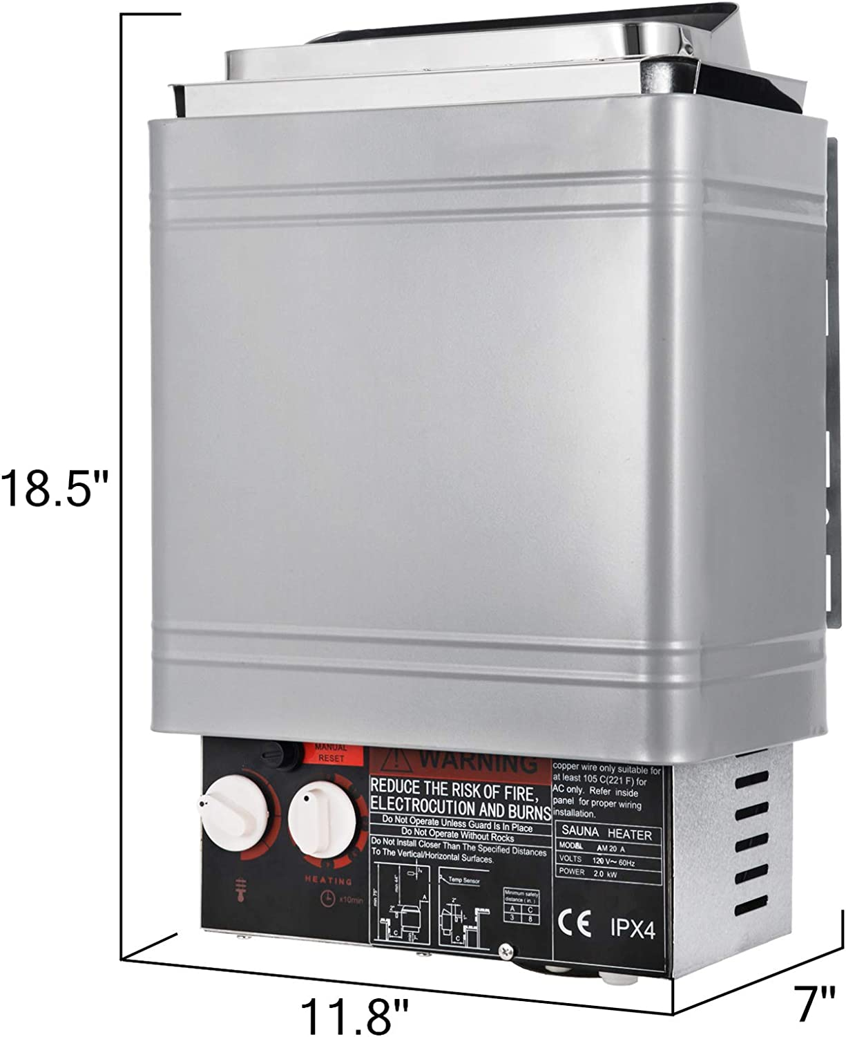 Amazon Com Vevor Sauna Heater 2kw Dry Steam Bath Stove 110v 120v With Internal Controller For Max 105 9 Cubic Feet Home Hotel Spa Shower Home Improvement