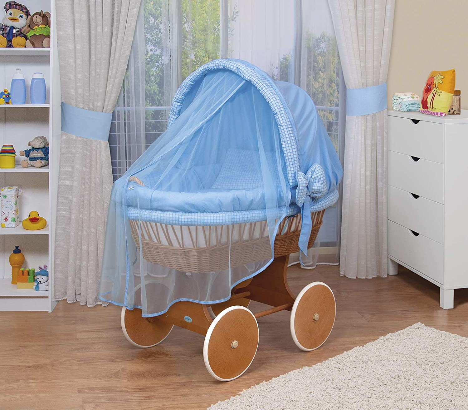WALDIN Baby wicker cradle,Moses basket,44 models available,white painted stand//wheels,textile colour blue//squared