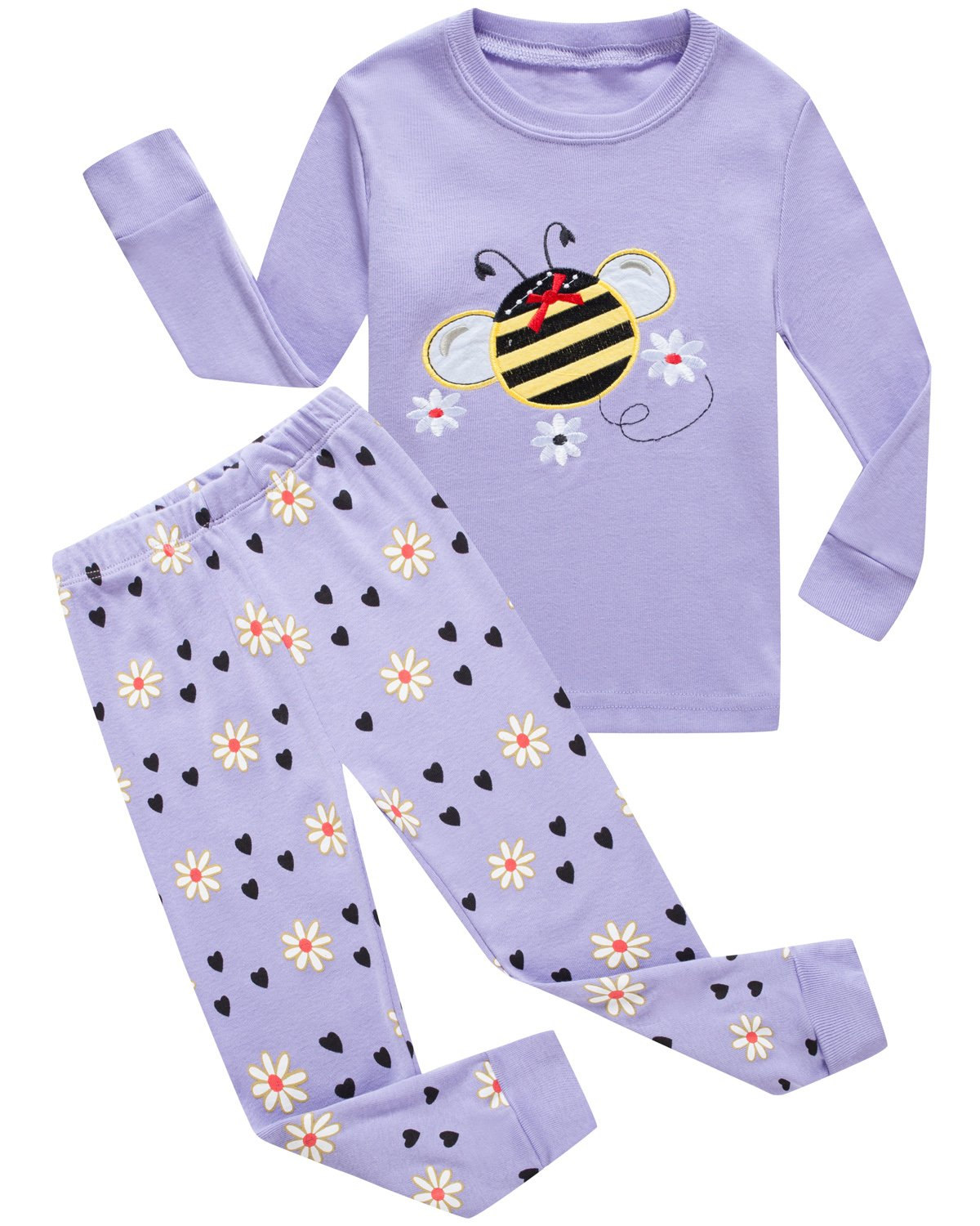 Girls Pajamas Bulldozer Little Kids Pjs Sets 100% Cotton Toddler Sleepwears FBA-679OWL
