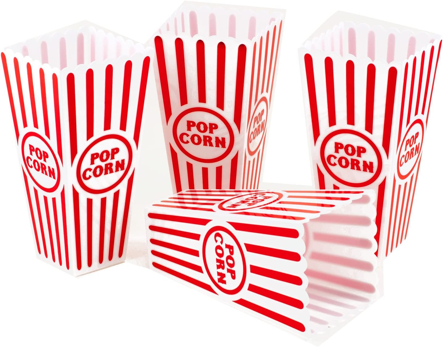 Plastic Reusable Popcorn Container Movie Theater Style Red /& White Set of 4