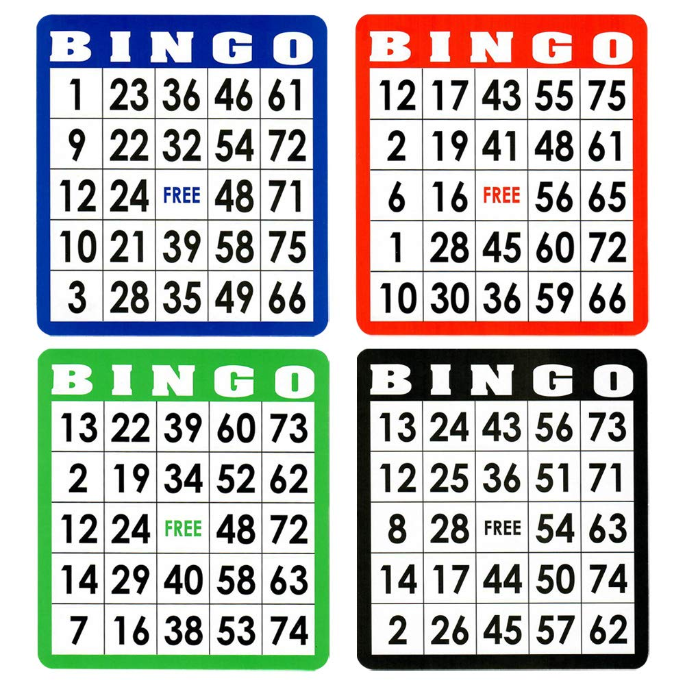 100-Pack GSE Games /& Sports Expert Multi Color Mixed Bingo Cards
