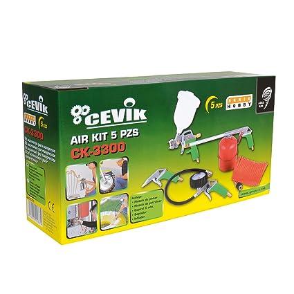 Cevik CA-CK3300 Kit aerográfico para compresor. 5 piezas: pistola de pintar,