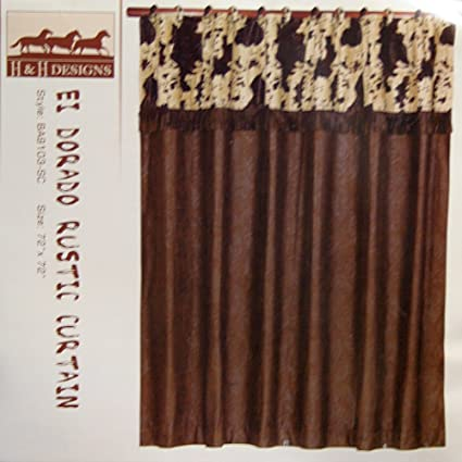 Image Unavailable Not Available For Color El Dorado Cowprint Cowhide Western Shower Curtain
