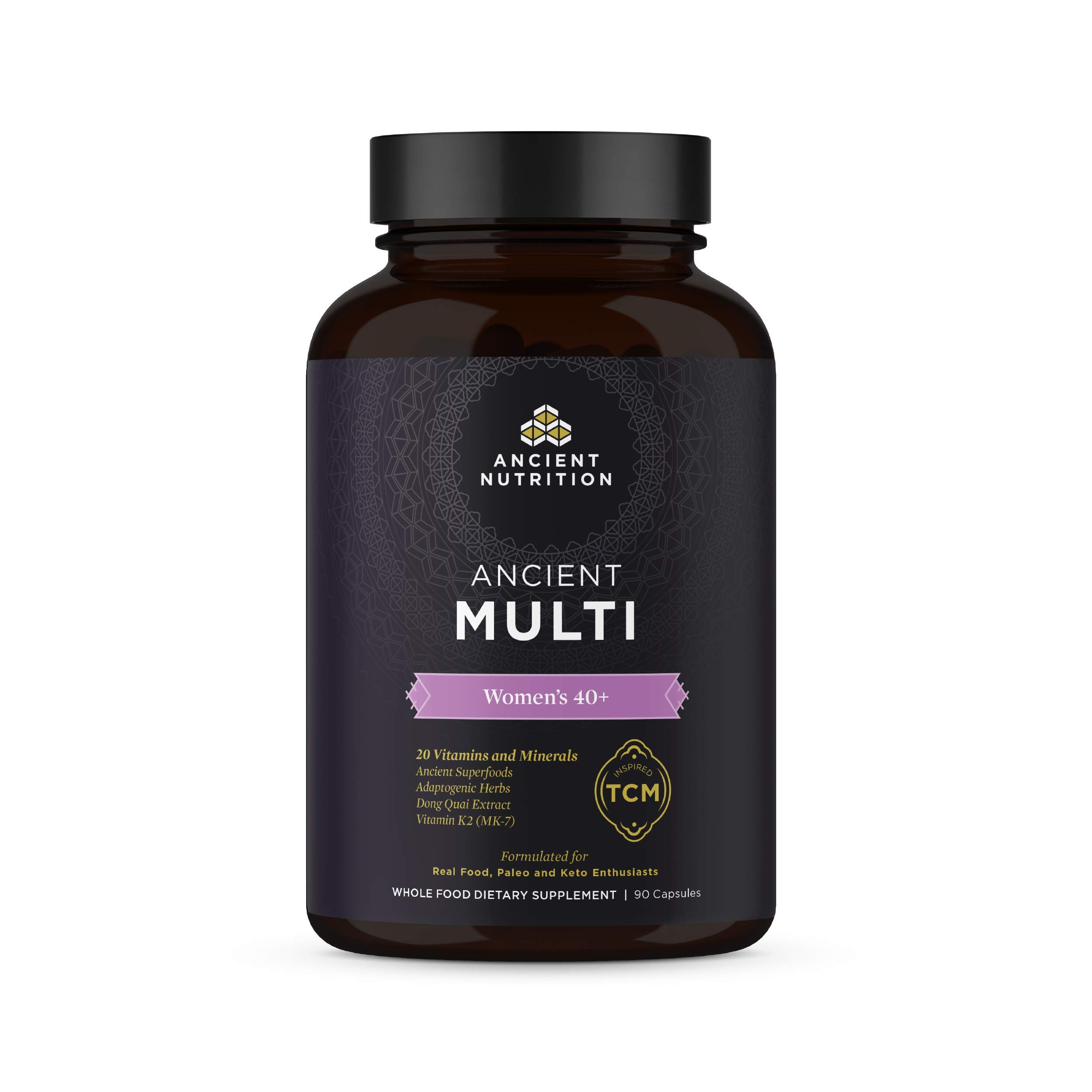 Ancient Nutrition, Ancient Multi Women's 40+ - 20 Vitamins & Minerals, Adaptogenic Herbs, Paleo & Keto Friendly, 90 Capsules