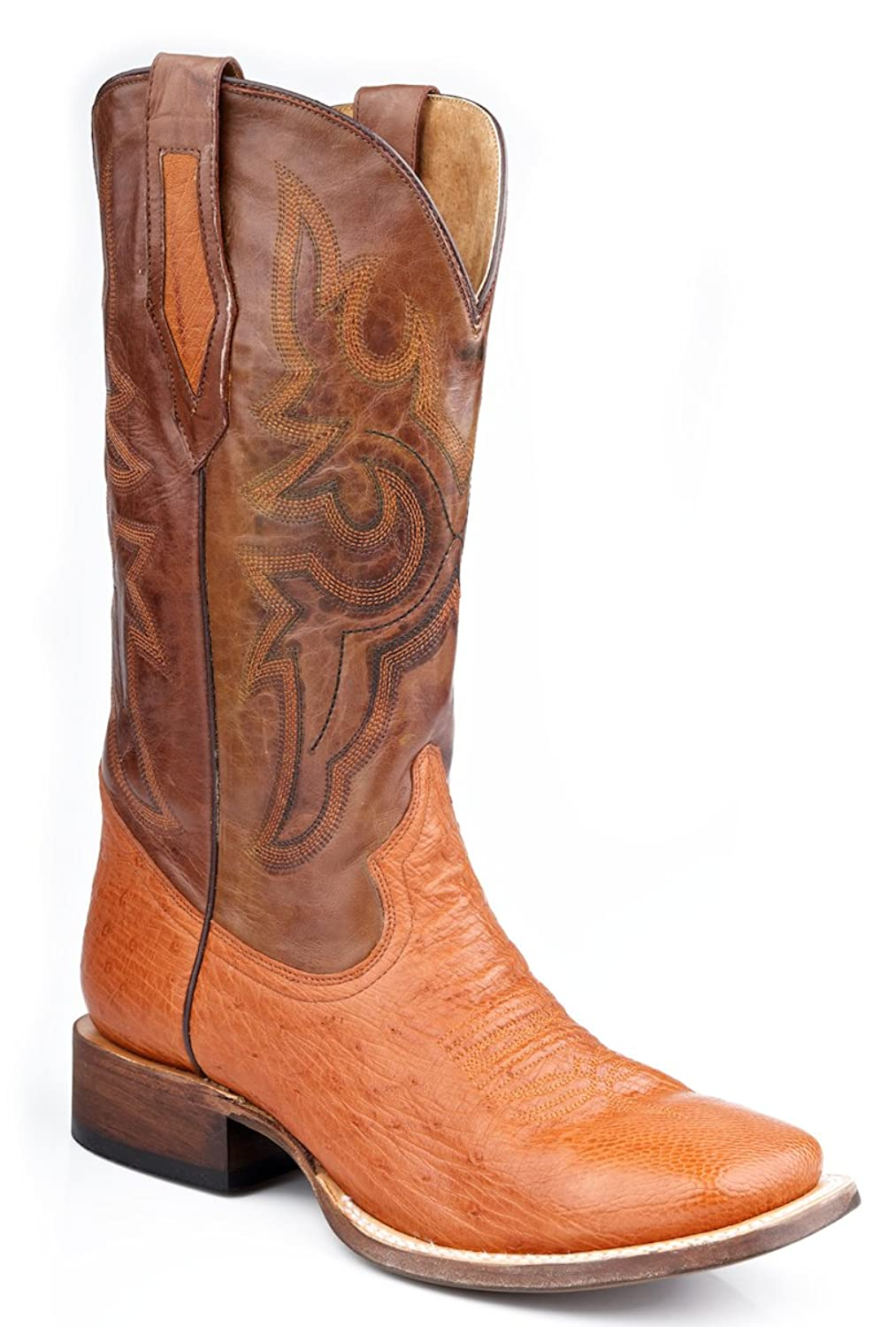 Roper Mens Exotic Wine Square Toe Smooth Ostrich Skin Cowboy Boots 11.5 EE